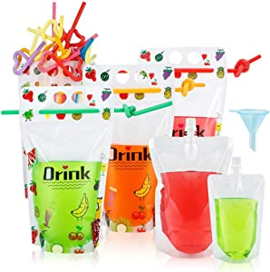 50 Pcs Reusable Drink Pouches for Adults, Flasks Liquor Cruise Pouch Reusable Sneak Alcohol Travel Drinking Flask,3 Size Plastic Zipper Juice Bags