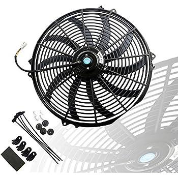 MOSTPLUS Black Universal Electric Radiator Slim Fan Push/Pull 12V + Mounting Kit (16 inch)