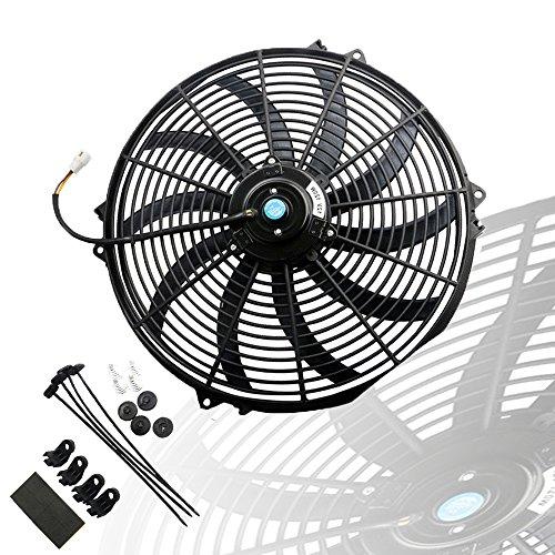 MOSTPLUS Black Universal Electric Radiator Slim Fan Push/Pull 12V + Mounting Kit (16 Inch) ()