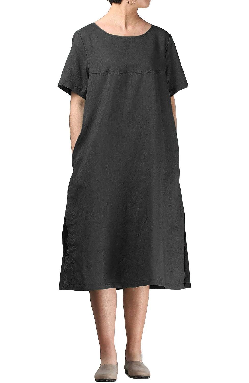 7b8c21abd4d8d Mordenmiss Women's Linen Dresses Loose-Fit Short Sleeve Side Slit Sundress