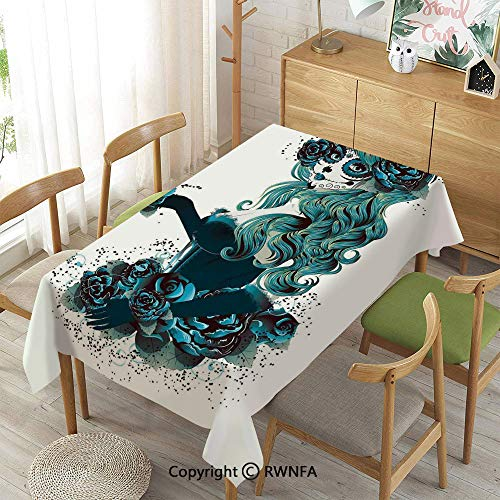 Homenon Decorative Rectangular Table Cloth,Vintage Sugar Skull Girl Day of The Dead Bride with Dark Color Roses Graphic Decorative,Waterproof Stain-Resistant,Petrol Blue White,55