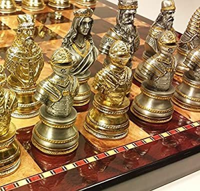 "Medieval Times Crusades Knight Metal Busts Chess Men Set Gold and Silver Color Plating W/ 18"" Cherry Color Board"