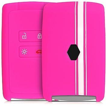 kwmobile Funda para Llave Smart Key de 4 Botones para Coche Renault (Solamente Keyless Go) - Carcasa Protectora Suave de Silicona - Case de Mando de ...