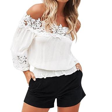 Damen Schulterfrei Bluse Chiffon Tops T-shirt Shirts Oberteile Rückenfrei Hemd