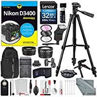 Nikon D3400 for Dummies + Deluxe Accessory Bundle with Xpix Tripods, Lenses, Filters, 32GB, DSLR Backpack, Remote, Xpix Cleaning Kit