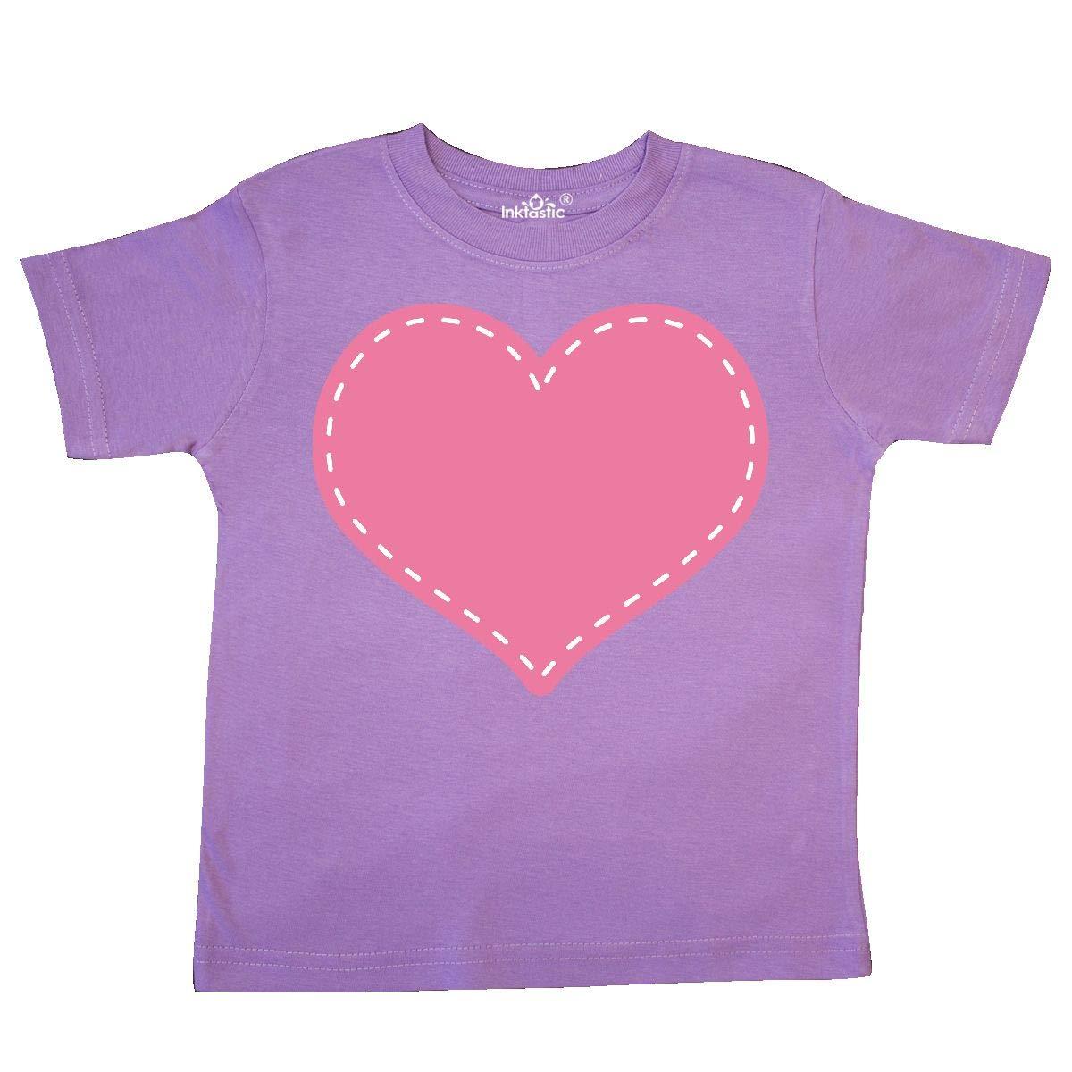 Toddler T-Shirt inktastic Pink Heart Stitch Border