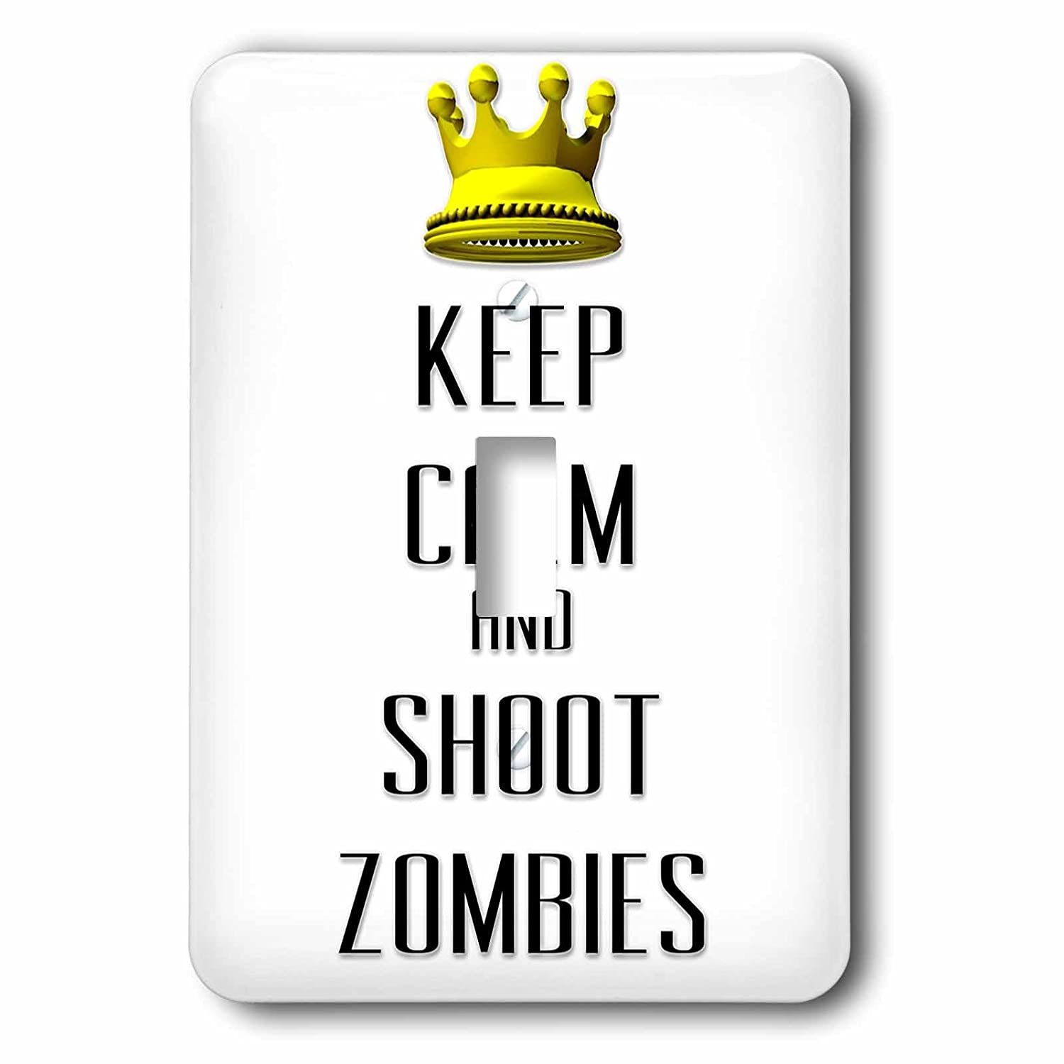3dRose lsp/_120888/_1  Gold Crown Keep Calm and Shoot Zombies Single Toggle Switch