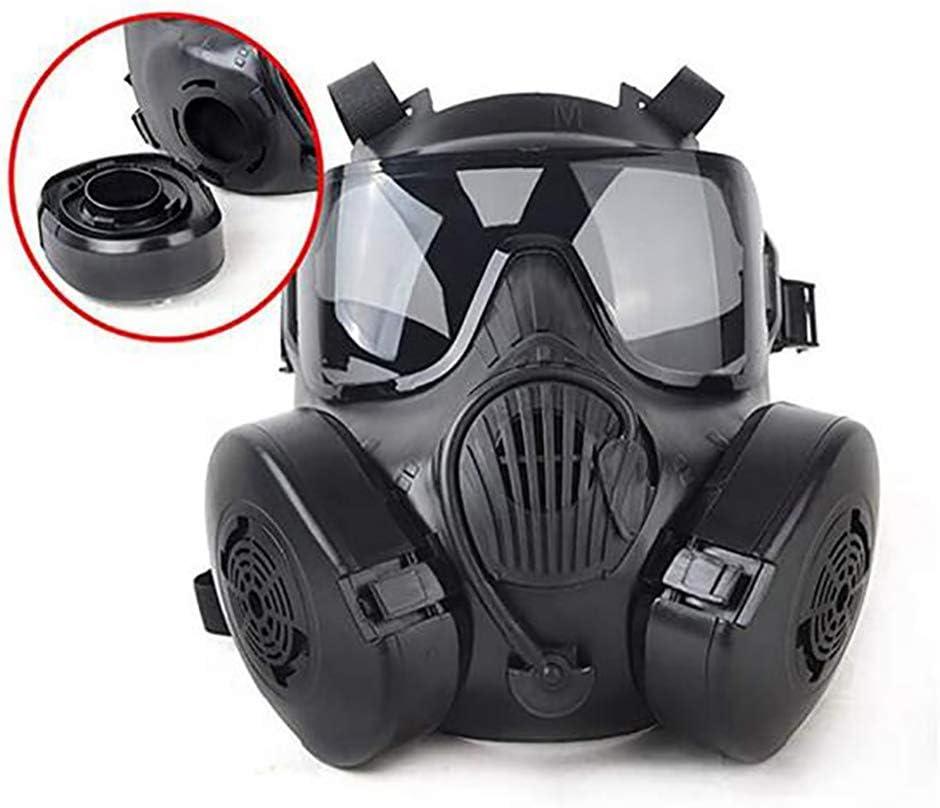LITI Casco táctico, Máscara de Juegos CS, CS Army War Airsoft Game BB Game Protección Facial Máscara de Seguridad Guardia Máscara de Gas tóxico para 360 ° Protect