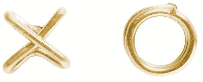 810da476574 Amazon.com: Cute XO Yellow Gold Stud Earring-14k Fill Hug Kiss ...