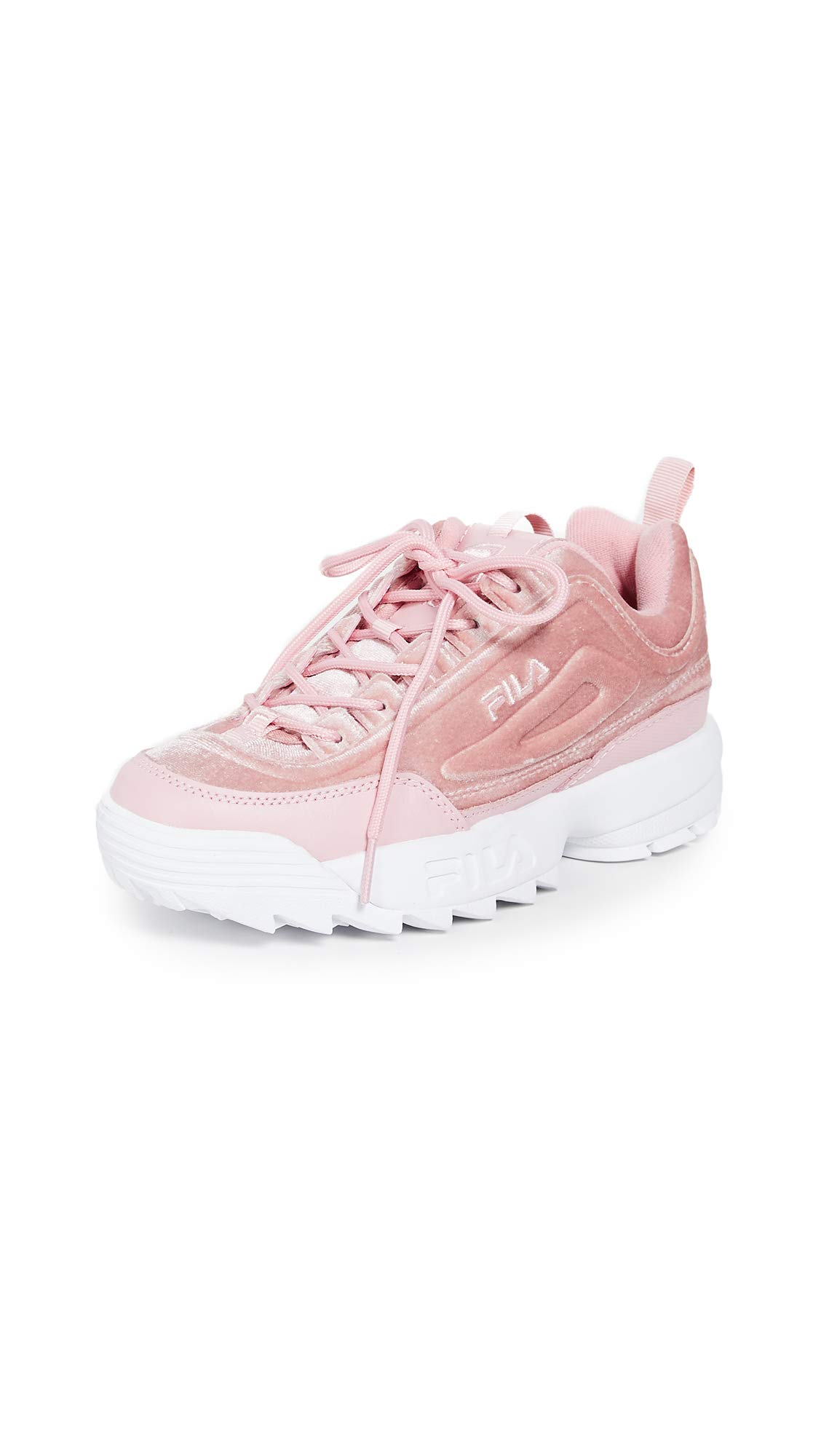 Fila Women's Disruptor II Premium Velour Sneakers, Pink, 9 M US