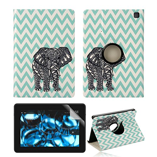 """Amazon Kindle Fire HDX 7.0 Inch 2013 Gen Case,TsuiWah(TM) Fashion Chevron Gray Elephant Design 360 Degrees Rotating Swivel Stand Flip Folio Smart PU Leather With Smart Cover Auto Wake / Sleep Feature Full Body Protector Case Cover Skin + Front Screen Protector For Amazon Kindle Fire HDX 7"""" 2013.WILL NOT Fit Fire HD 7 2012, Fire HD 7 2013 and Fire HD 7 2014)"""