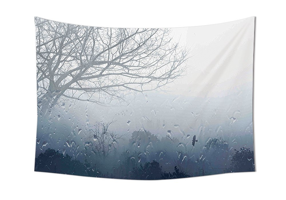 asddcdfdd Forest Tapestry Decor Raindrops Mystic Foggy Scenery Romantic Window Water Melancholia Therapy Lonely Tree Wall Hanging for Bedroom Living Room Dorm Gray Denim