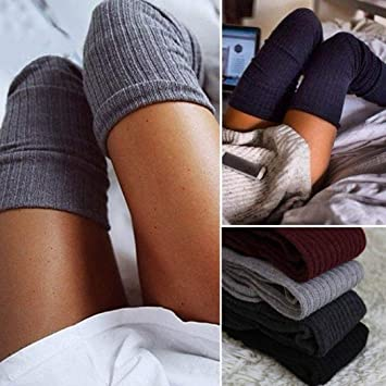 Voiks Calcetines de Mujer Sobre la Rodilla Calcetines de Algodón Larga: Amazon.es: Hogar