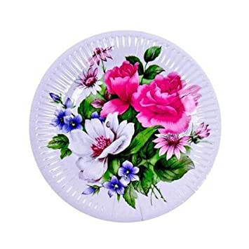 20 Count Disposable Plates 7 Inch Beautiful Flower Paper Plates  No.3  sc 1 st  Amazon.com : flowered paper plates - pezcame.com