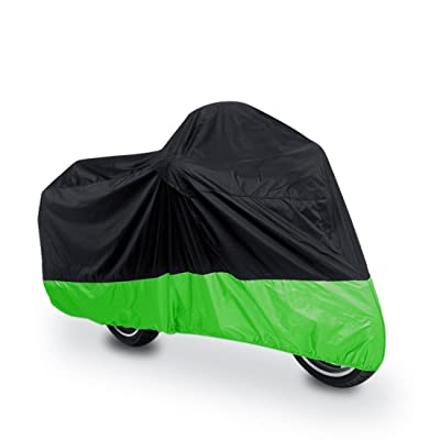 uxcell L 180T Rain Dust Protector Black+Green Scooter Motorcycle Cover 86inch for Honda Victory Kawasaki Yamaha Suzuki Harley Davidson: Automotive