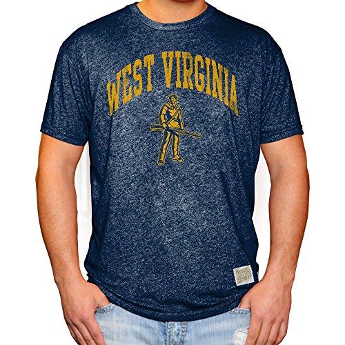 Elite Fan Shop WVU West Virginia Mountaineers Retro Tshirt Navy - ()
