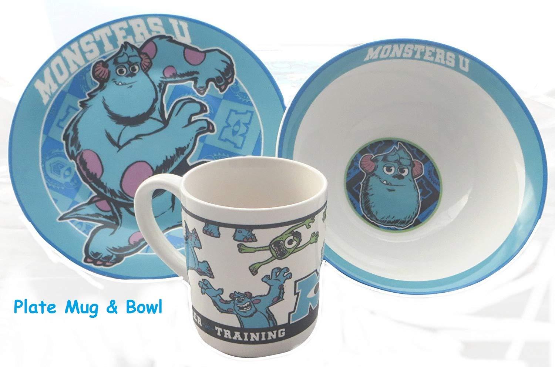 HMWD Disney Pixar Monsters University Ceramic China Breakfast Set - Plate, Bowl and Mug