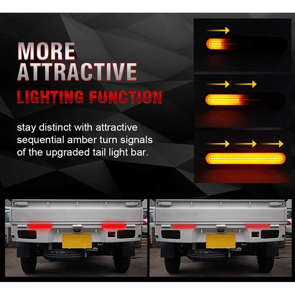 nero LIDIWEE Fanale posteriore freno a 2 pezzi 100led fanale posteriore acqua corrente fanale posteriore a due colori con guida leggera per camion pesante modificato
