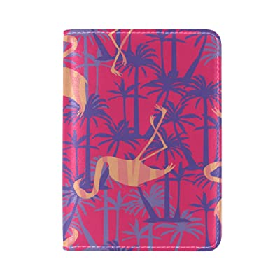 Yuihome Passport Holder Cover Case Travelling Flamingos Genuine Leather