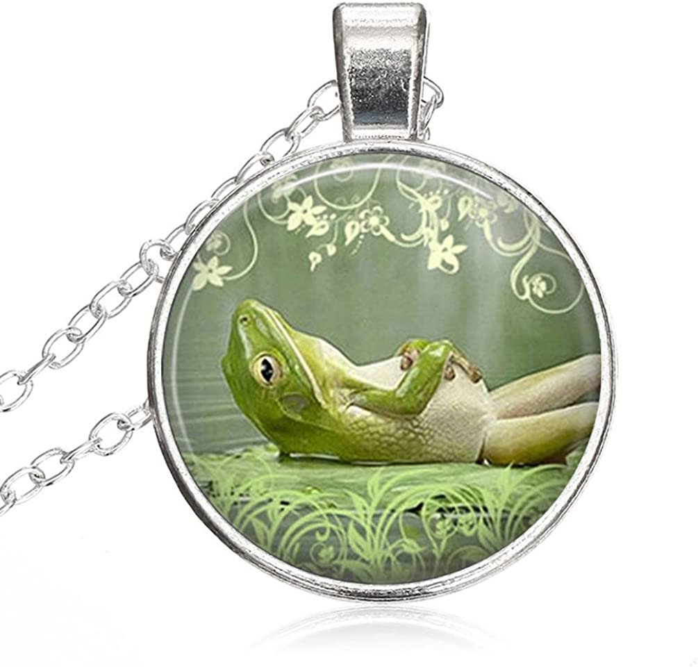 Women Small Round Disc Frog Charm Frog Nature Inspired JewelryGlass Cabochon Jewelry Pendant Necklace Gift for Women