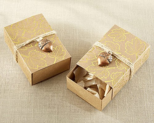 120 Gold Foil Leaf Favor Box with Acorn Charm