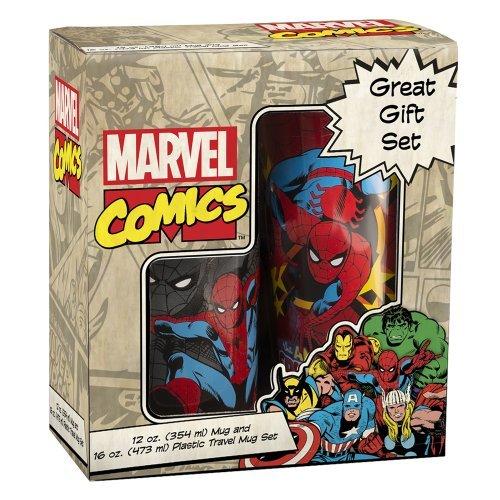 Vandor 26088 Marvel Spider-Man 16 Oz Plastic Travel Mug And 12 Oz Ceramic Mug Set, Multicolor by Vandor