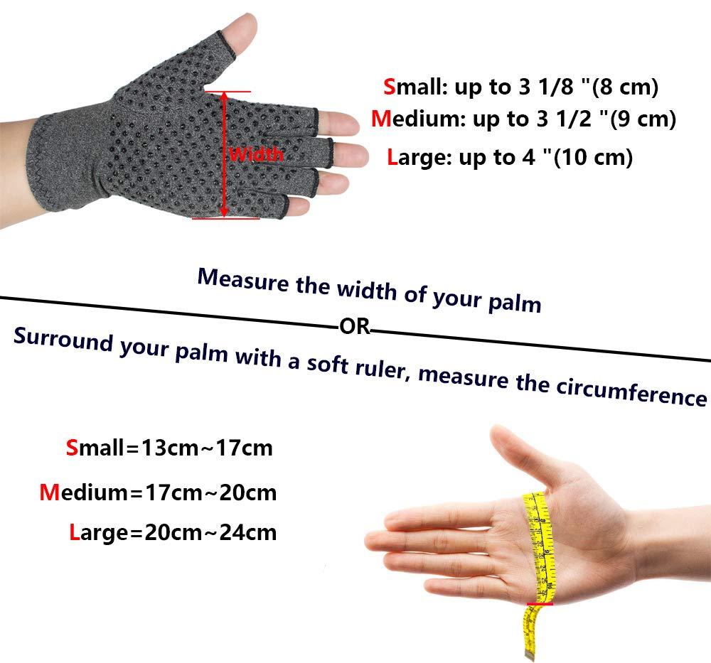 enshey anti-arthritis Kompression Handschuhe für Damen Herren, Kompression Therapie und Wärme zu erhöhen Durchblutung Schmerzen und Fördern Heilung - atmungsaktiv, fingerlos, Anti-Rutsch-1 Paar