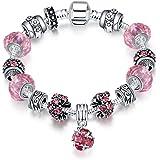 Naivo Designer Inspired Crystal Snake Chain Murano Glass Beads Charm Bracelet