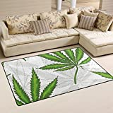 WellLee Area Rug 2.7'x1.8',Medical Herb Leaves of Marijuana Floor Rug Non-Slip Doormat for Living Dining Dorm Room Bedroom Decor