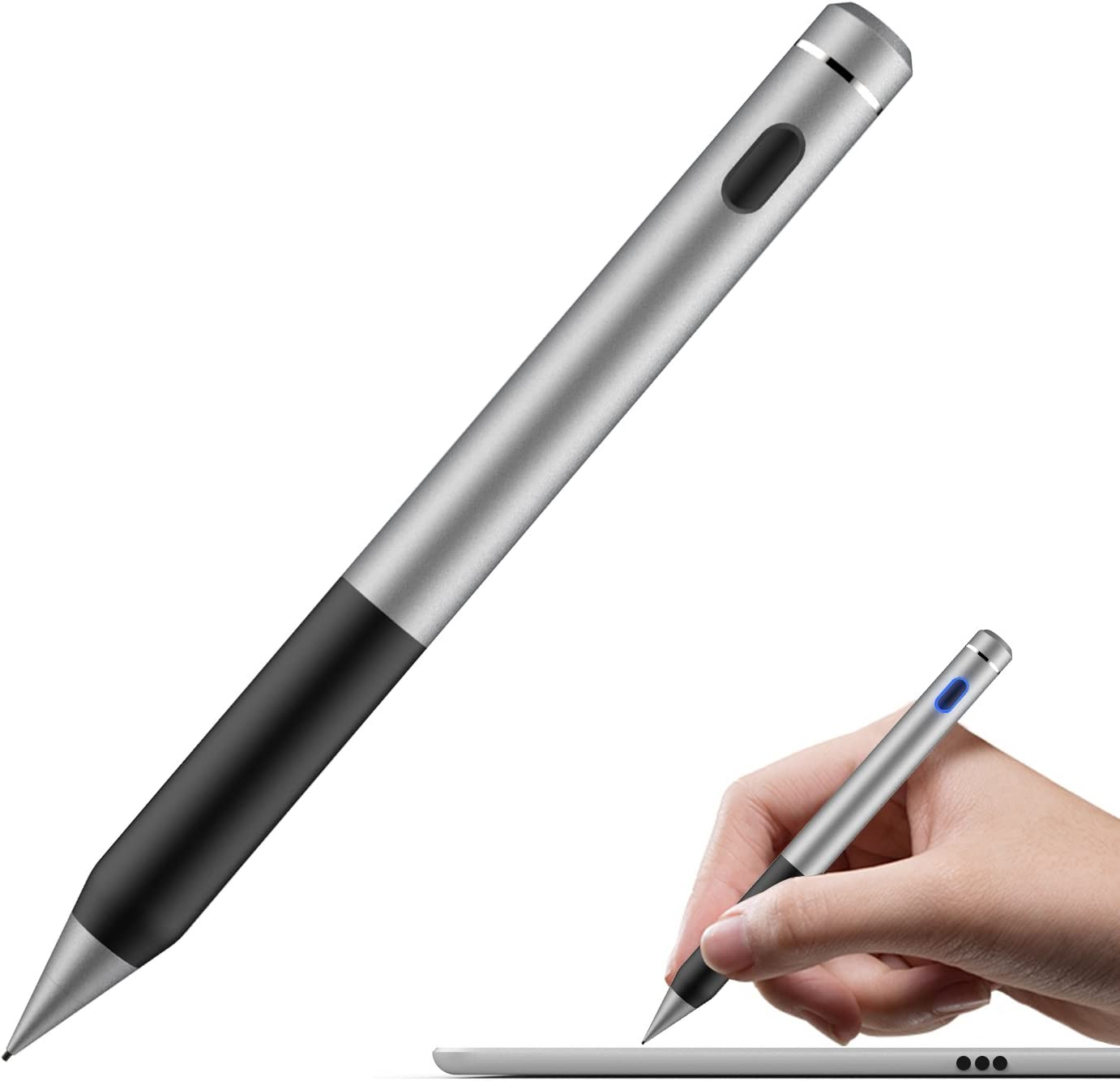 MoKo Universal Active Stylus Pen, Capacitive Fine Point Touch Screen Tablets Ditgial Pencil Compatible Apple iPad, Mini/Air/Pro, iPhone, Samsung Galaxy, Touchscreen Devices & Smartphones - Dark Gray