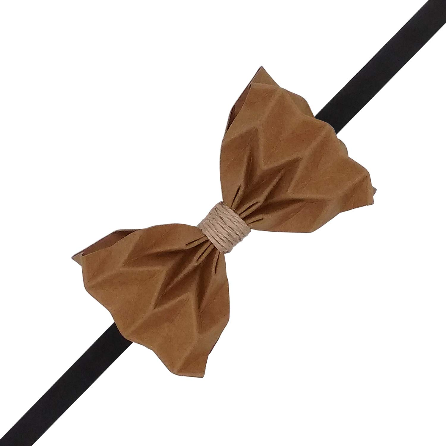 Lanzonia Mens Unique Khaki Paper Bow Tie