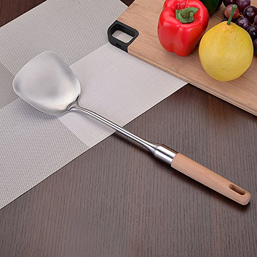 MDRW-Cooking Good Helper Solid Wood Handle Resting Stainless Steel Kitchenware Thicker Spatula Wok Shovels Speculation Soup Ladle Cooking Utensils Wok Spatula ()