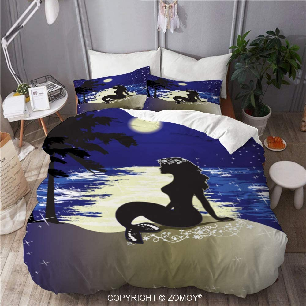 ZOMOY Duvet Cover Set, Mermaid Sitting Ashore Night, Decorative 3 Piece Bedding Set with 2 Pillow Shams