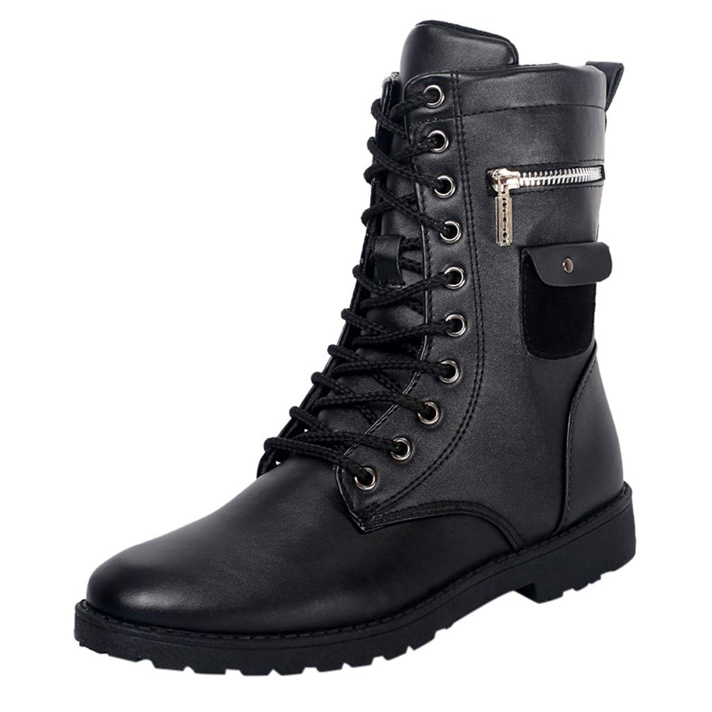 High Top Leather Boots for Mens Chunky Heels Ankle Boot Lace up Shoes Sneakers (US:9.5-10, Black) by Suoxo Men Shoes