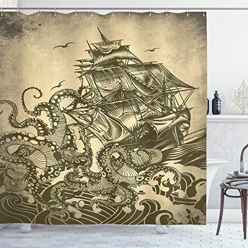 Ambesonne Nautical Shower Curtain, Kraken Octopus Tentacles with Ship Sail Old Boat in Ocean Waves, Cloth Fabric Bathroom Decor Set with Hooks, 70 Long, Yellow Olive