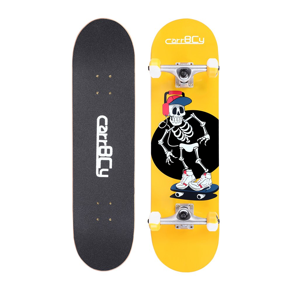 Idea Skateboards,31''X 8'' Pro Complete Skateboard, 7 Layer Canadian Maple Skateboard Deck for Extreme Sports and Outdoors, Skeleton Luminous Effect Skating Board by Idea