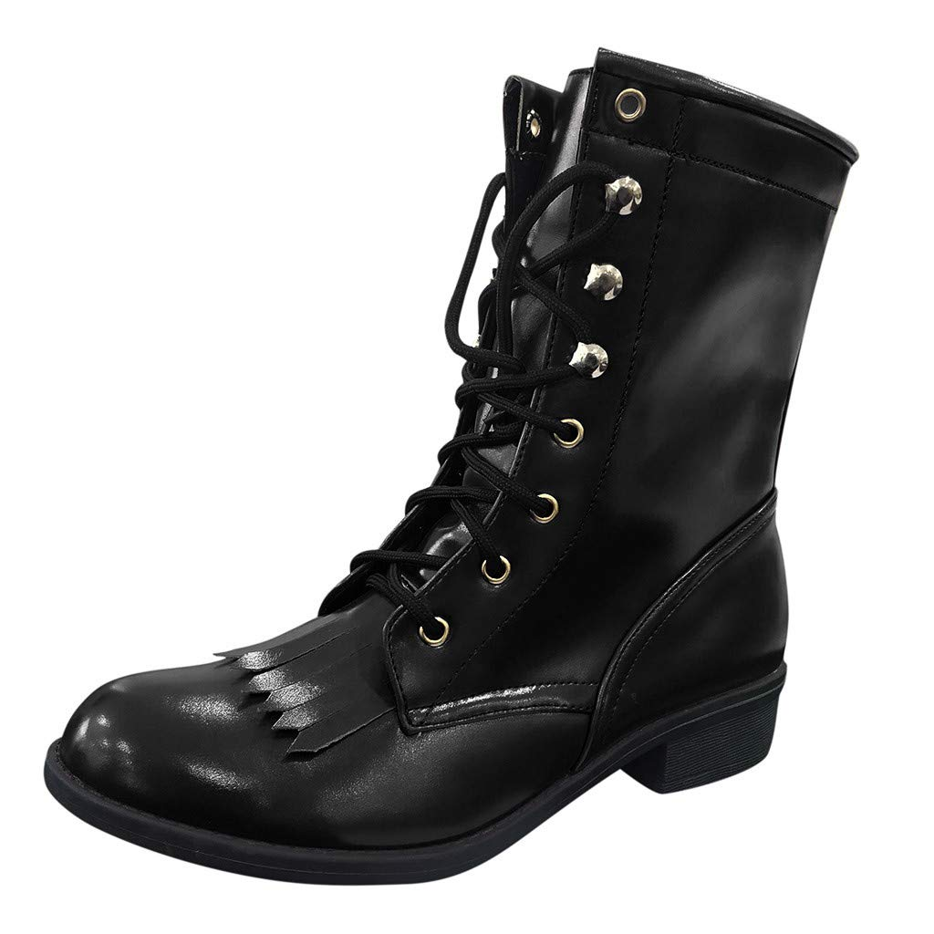 Womens Fashion Combat Motorcycle Bootie Closed Toe Slip on Low Chunky Heel Lace-up Ankle Boot Leaf2you by Leaf2you