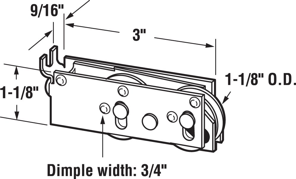 Prime-Line Products D 1727 Sliding Door Tandem Roller Assembly with 1-1/8-Inch Steel Ball Bearing by Prime-Line (Image #1)