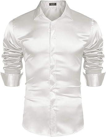 Coofandy - Camisa de Manga Larga de satén para Hombre, con Botones - Blanco - Medium: Amazon.es: Ropa y accesorios