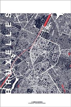 Posterlounge Hartschaumbild 120 x 180 cm: Bruxelles Karte Mitternacht (Brüssel) von Campus Graphics
