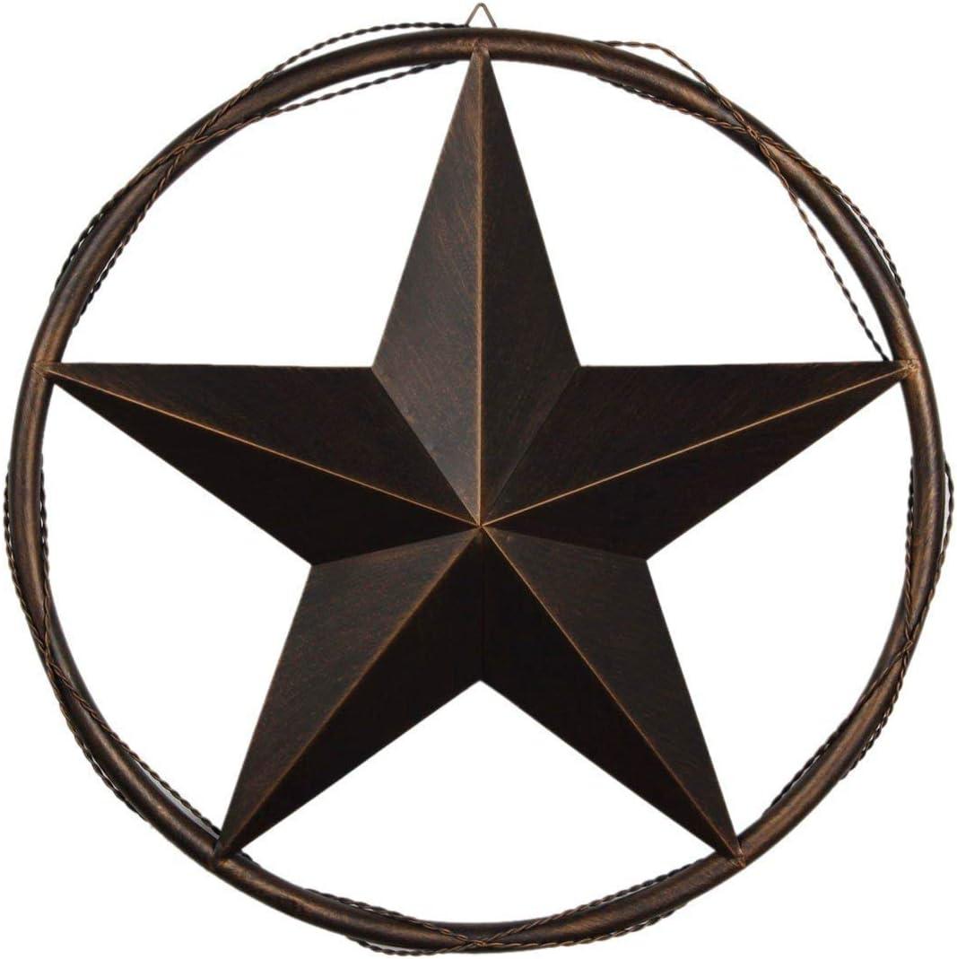 "EBEI 13"" Rustic Metal Barn Star in Cast Wired Circle Vintage Texas Lone Star Dark Brown Western Home Decor Dark Brown"