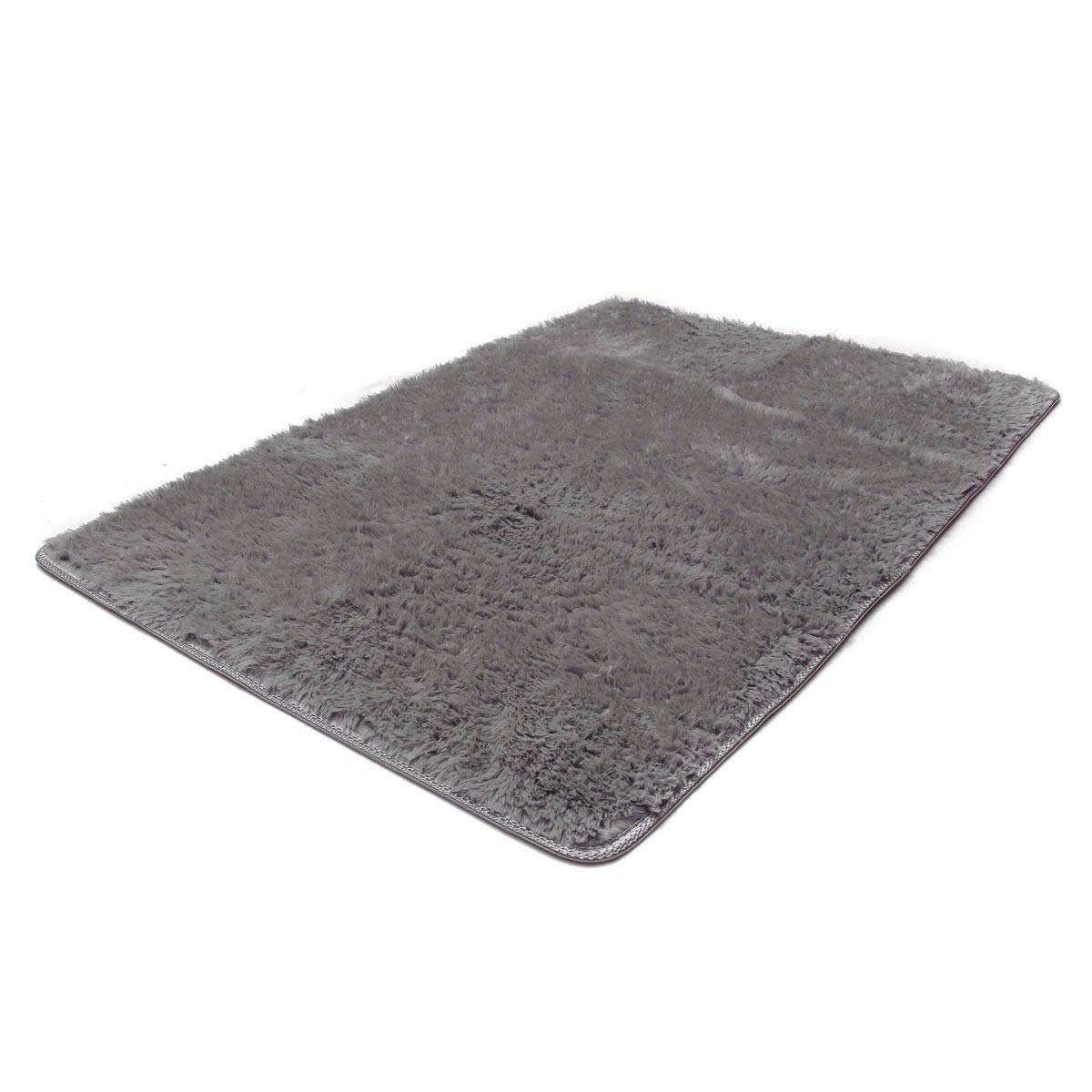 Bath Rugs Fluffy Rugs Anti-skid Shaggy Area Rug Dining Room Home Bedroom Carpet Floor Mat Gray
