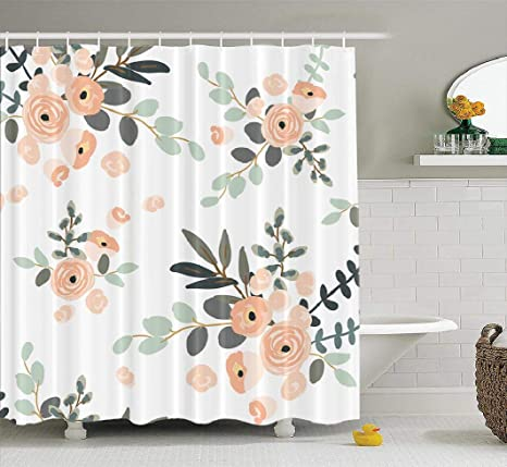 Lilymua Girly Shower Curtain Floral Shower Curtain Bathroom Curtain Blush Pink Floral Bouquets On White Rose Flowers Shower Curtain Polyester Exotic Bath Curtain Waterproof Bathroom Decor 72x78 Inch Kitchen Dining