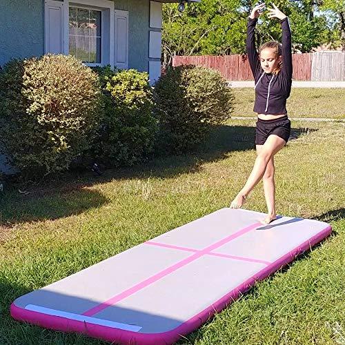 BATURU Inflatable Air Track Gymnastic Airtrack Tumbling Air Mat, 9.8 ft Air Floor for Home Use, Training, Cheerleading, Yoga, Taekwondo (Pink)