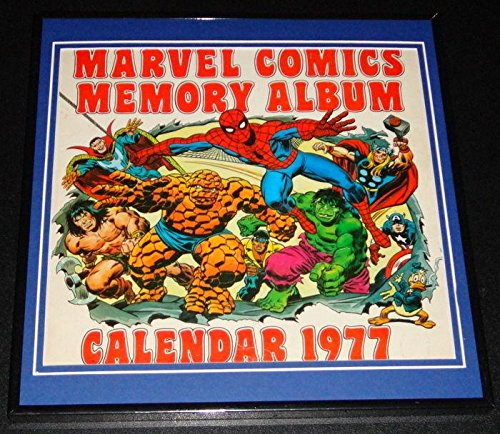 Original Framed 1977 Marvel Calendar Poster 12x12 Spiderman Hulk Thing