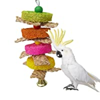 Keersi Natural Straw Braid Chew Toy for Parrot Macaw African Greys Budgies Cockatoo Parakeet Cockatiels Conure Love bird Cage Chew Toy (A)