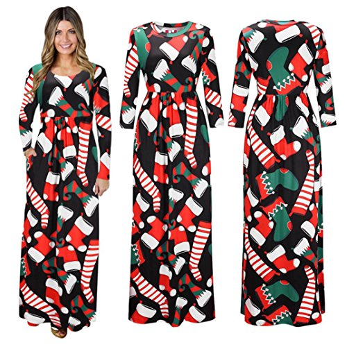 Costume Ideas Wearing Jeans (Cheap Stuff !!! Women Christmas Print Long Sleeve Dress Ladies Evening Party Long Maxi Dress (S, White))