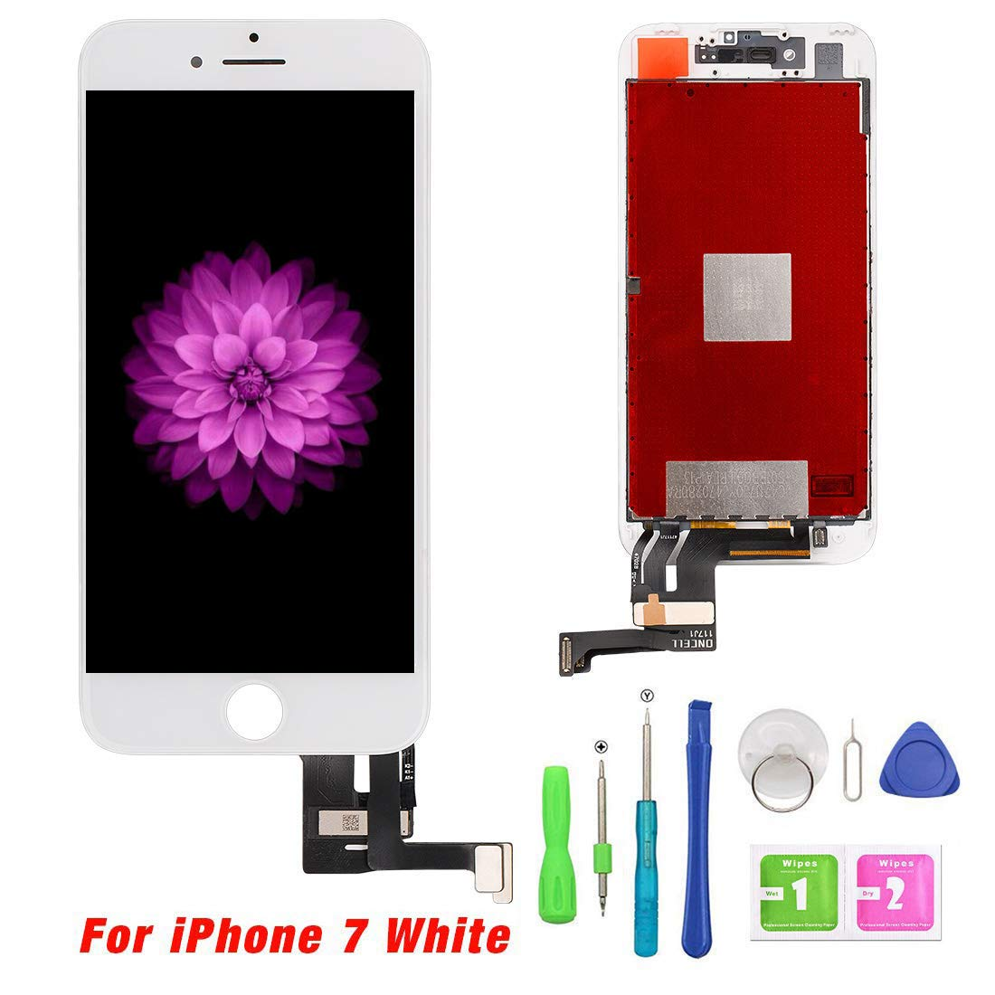 QTlier Replacement Screen for iPhone 7 4.7 White LCD Touch Display Screen Digitizer Frame Assembly Replacement with Repair Tool Set
