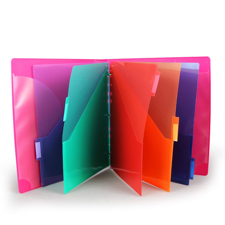 Binder Dividers w/Two Pocket Binder Index Dividers 8-Tab Set Pack of 3 Sets Multicolor Tab dividers Plastic Binder Dividers with Tabs