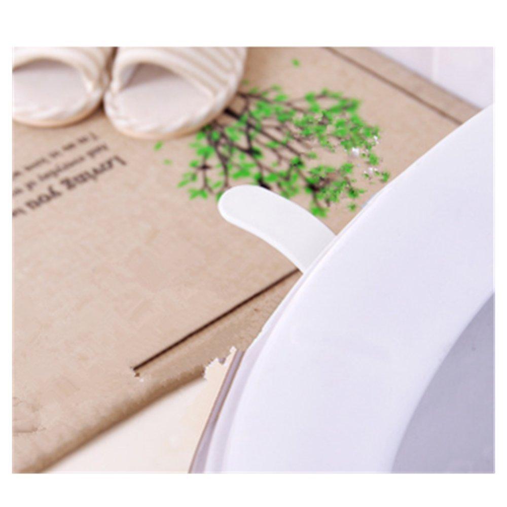 Toilet Seat Lifter Leaf Shape Avoid Touching 2PCS by Einfachheit (White) 08